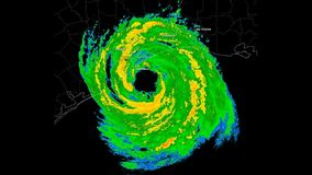 Hurricane Ike (2008) Landfall Time Lapse stock video footage