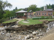 Hurricane Irene. Left total destruction with the flooding changing the footprint of Vermont forever. Where there was a park is now gone Stock Images