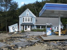 Hurricane Irene. Hit some areas in the state of Vermont harder than others but left devastation from massive flooding where Royalty Free Stock Images