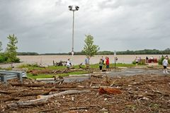 Hurricane Irene aftermath in the Philadelphia area. PHILADELPHIA - AUGUST 28: Debris carried by the flooded Delaware River litters a park in Northeast Stock Photography