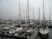 Hurricane Irene Boats Moored in Boston Harbor Stock Photography