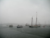 Hurricane Irene drenches Boston Harbor Royalty Free Stock Photo