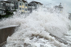 Hurricane Irene waves breach seawall Royalty Free Stock Photo