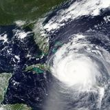 Hurricane Irma is heading towards Florida, USA in 2017 - Elements of this image furnished by NASA. Processed satellite image based on MODIS raw data showing Stock Photo
