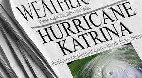 Hurricane Katrina. Makes landfall - Newspaper headlines from August 29th, 2005. Image courtesy of NASA via public domain satellite imagery Stock Image