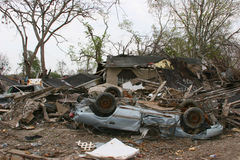 Hurricane Katrina Destruction. A house and car destroyed by hurricane Katrina Royalty Free Stock Photo