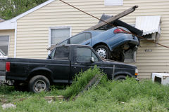 Hurricane Katrina Destruction. A car stacked on a truck after Hurricane Katrina Royalty Free Stock Photography