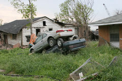 Hurricane Katrina Destruction. Cars left stacked after hurricane Katrina Royalty Free Stock Photography