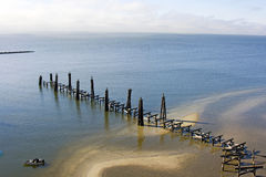 Hurricane Katrina Vs. Fishing Pier Royalty Free Stock Photography