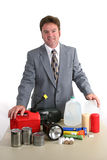 Hurricane Kit. A weatherman with hurricane supplies Stock Image