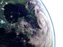 Hurricane Matthew above Cuba. Huge hurricane Matthew above Cuba heading towards Florida. 3D illustration Stock Photos