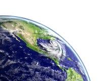 Hurricane Matthew appraching America. Huge hurricane Matthew approaching american coast near florida. 3D illustration Royalty Free Stock Photography