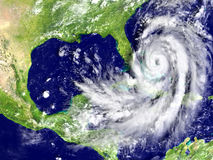 Hurricane Matthew approaching Florida. Disastrous hurricane Matthew on Florida coastline. 3D illustration. Elements of this image furnished by NASA Royalty Free Stock Photography