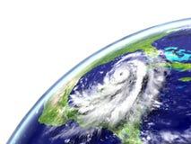Hurricane Matthew approaching Florida. Disastrous hurricane Matthew near Florida in America. 3D illustration Royalty Free Stock Images