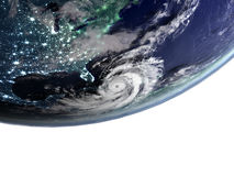 Hurricane Matthew approaching Florida. Huge hurricane Matthew approaching Florida in America. 3D illustration. Elements of this image furnished by NASA Royalty Free Stock Photos