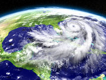 Hurricane Matthew approaching Florida. Huge hurricane seen from Earth's orbit above Florida in America. 3D illustration. Elements of this image furnished by NASA Royalty Free Stock Photos