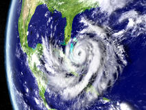 Hurricane Matthew approaching Florida. Illustration of hurricane Matthew approaching Florida in America. 3D illustration. Elements of this image furnished by Royalty Free Stock Images