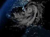 Hurricane Matthew approaching Florida at night. Night on Earth with visible hurricane Matthew approaching Florida in America. 3D illustration. Elements of this Royalty Free Stock Photography