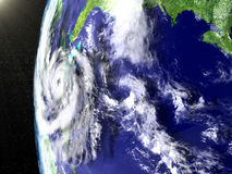 Hurricane Matthew approaching Florida. Space view of huge hurricane in Caribbean heading towards Florida in America. 3D illustration. Elements of this image Stock Image