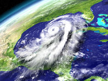 Hurricane Matthew in Caribbean Sea. Spactacular view from space with enormous hurricane Matthew heading towards Florida in America. 3D illustration. Elements of Stock Image