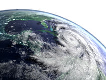 Hurricane Matthew catastrophe. Huge hurricane Matthew as seen from space near Florida in America. 3D illustration Royalty Free Stock Photography
