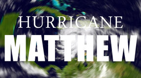 Hurricane Matthew danger. Hurricane Matthew which is heading for the US, threatening Florida on blurred spinning satellite view Royalty Free Stock Photos