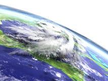 Hurricane Matthew disaster. Enormous hurricane Matthew above the coast of Florida, USA. 3D illustration Royalty Free Stock Photo