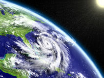 Hurricane Matthew eye. Spectacular satellite view of hurricane Matthew near Florida in America. 3D illustration. Elements of this image furnished by NASA Stock Photography