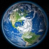 Hurricane Matthew on globe. Huge hurricane Matthew approaching coast of Florida. 3D illustration. Elements of this image furnished by NASA Royalty Free Stock Image
