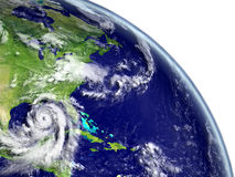 Hurricane Matthew near coastline. Disastrous hurricane Matthew in Caribbean appraching american coast. 3D illustration. Elements of this image furnished by NASA Royalty Free Stock Photos