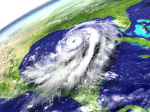 Hurricane Matthew near Florida. Massive hurricane Matthew near Florida in America. 3D illustration. Elements of this image furnished by NASA Stock Images