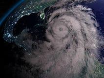 Hurricane Matthew at night. Huge hurricane Matthew at night near Florida in America. 3D illustration Stock Image