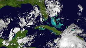 The Hurricane Matthew, satellite view, animation. High speed time lapse.