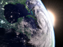 Hurricane Matthew seen from space. Hurricane Matthew from space approaching Florida in America during sunrise. 3D illustration Royalty Free Stock Image
