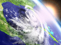 Hurricane Matthew sunrise. Colorful sunrise above catastrophic hurricane Matthew above Florida in America. 3D illustration Stock Photography