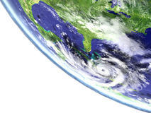 Hurricane Matthew. Viewed from satellite heading towards Florida in America. 3D illustration. Elements of this image furnished by NASA Royalty Free Stock Photos