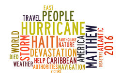 Hurricane Matthew in word tag cloud. On white background stock illustration
