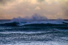 Hurricane in ocean, huge wave Stock Photos