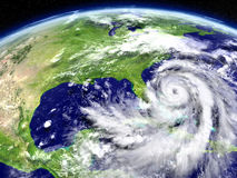 Hurricane from orbit. Satellite view of disastrous hurricane Matthew approaching Florida in America. 3D illustration. Elements of this image furnished by NASA Royalty Free Stock Image