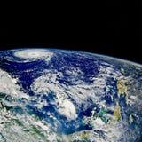 Hurricane over North Atlantic. Satellite photo Stock Image