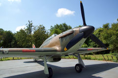 The Hurricane. A picture of a full sized replica of the Hurricane aeroplane at the World War II museum near folkstone in Kent Royalty Free Stock Photography
