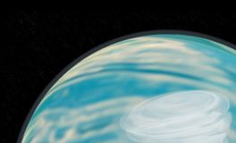 Hurricane raging on a planet with a starry sky 3d stock image