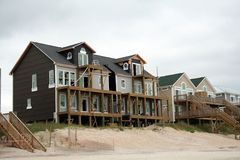 Hurricane reconstruction. Beach home reconstruction after hurricane damage royalty free stock images