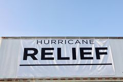 Hurricane Relief for Irma and Harvey Victims. A central location serving as a collection point for  food, water and medical supplies that will be donated to Stock Photo