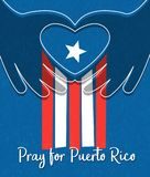 Hurricane relief for Puerto Rico design. Puerto Rican flag with hands forming a heart shape. Hurricane relief for Puerto Rico design. Puerto Rican flag with royalty free illustration