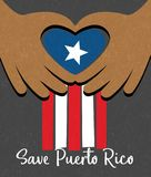 Hurricane relief for Puerto Rico design. Puerto Rican flag with hands forming a heart shape. Hurricane relief for Puerto Rico design. Puerto Rican flag with stock illustration