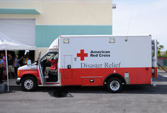 Hurricane relief truck. Fort Lauderdale, USA - May 6, 2011: American Red Cross hurricane relief truck meeting the public before the start of the 2011 hurricane Royalty Free Stock Photo
