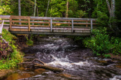 Hurricane river meets Lake Superior in Upper Michigan. Bridge over the Hurricane River Royalty Free Stock Image