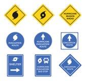 Hurricane road signs, danger alert vector symbols. Hurricane road signs, danger alert vector blue and yellow symbols royalty free illustration