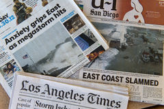 Hurricane Sandy. Los Angeles Time newspaper headlines for Hurricane Sandy. October 29, 2012 royalty free stock photography